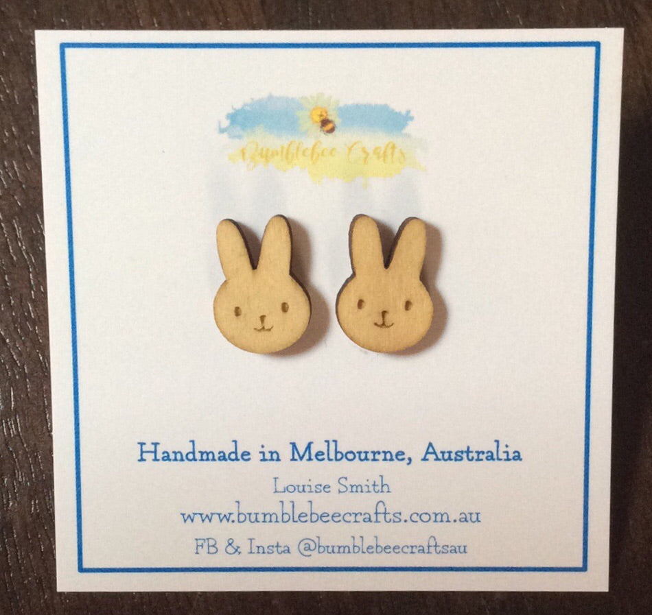 Bunny Rabbit Wooden Stud Earrings - Bumblebee Crafts