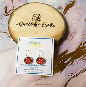 Polka Dot Glass Bead Drop Earrings - Bumblebee Crafts