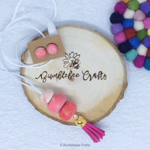 Load image into Gallery viewer, Polymer Clay Necklace - Pink mix with tassel - Bumblebee Crafts