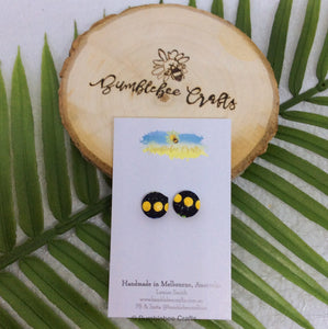 Round Fabric Covered Button Earrings - Black with yellow dots - Bumblebee Crafts