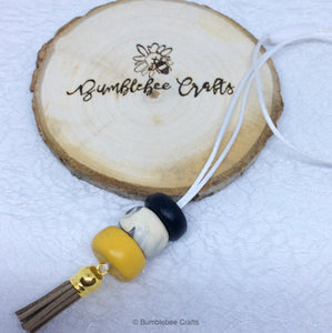 Polymer Clay Necklace - Mustard Yellow mix with tassel - Bumblebee Crafts