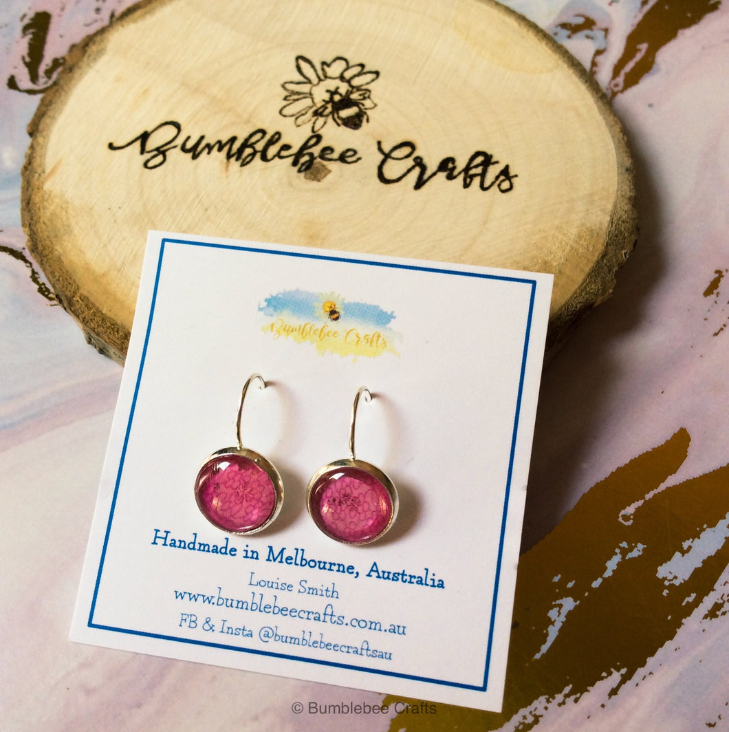 Lace pattern Glass Bead Earrings - Bumblebee Crafts