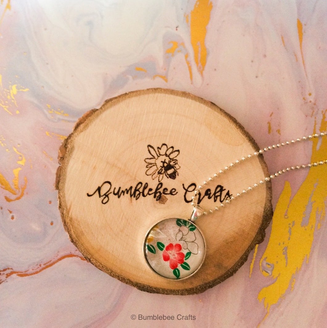 Japanese Handmade Paper Cabochon Pendant - white with flowers - Bumblebee Crafts