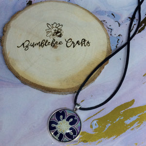 Large navy Floral Japanese Pendant - Bumblebee Crafts