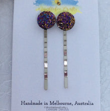 Load image into Gallery viewer, Sparkly Druzy Bead Bobby Pin - Set of 2 - Bumblebee Crafts