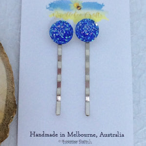 Sparkly Druzy Bead Bobby Pin - Set of 2 - Bumblebee Crafts