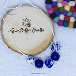 Polymer Clay Necklace - Blues mix rounds - Bumblebee Crafts