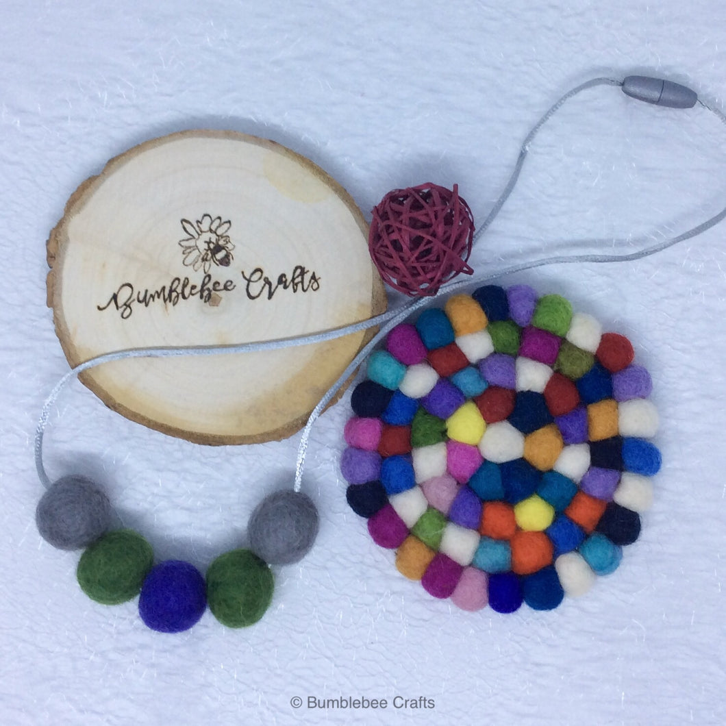 Wool Felt Bead Necklace - purple/green - Bumblebee Crafts