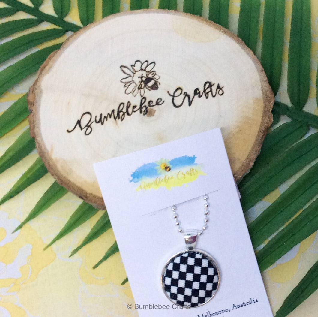 Fabric Pendant - Black and white check - Bumblebee Crafts
