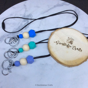 Lanyards with Silicone and raw wood Beads - Bumblebee Crafts