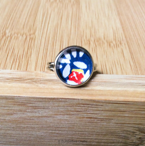Japanese ring - Blue, White, red - Bumblebee Crafts