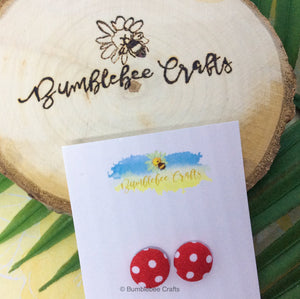 Fabric earrings - Red & White Polka Dot - Bumblebee Crafts