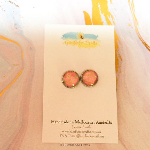 Japanese Earrings- Pink, Gold - Bumblebee Crafts