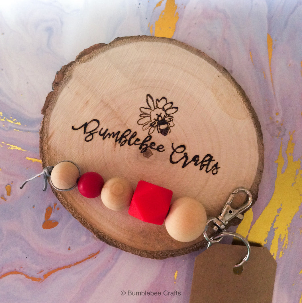 Silver Tone Silicone Bead Keyring with raw wood - Bumblebee Crafts