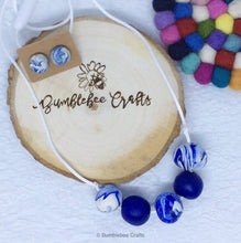 Load image into Gallery viewer, Polymer Clay Necklace - Blues mix rounds - Bumblebee Crafts