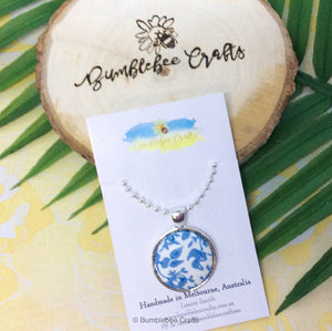 Fabric Pendant - Blue & White flowers - Bumblebee Crafts