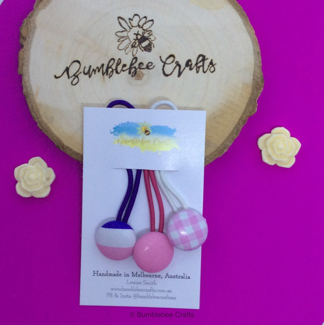 Fabric covered button snagless hair ties - set of 3 pinks - Bumblebee Crafts