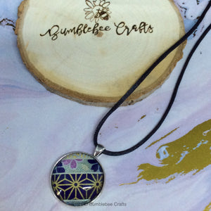 Navy/Gold Japanese Pendant - Bumblebee Crafts