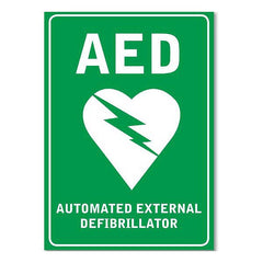 Defibrillator AED adhesive wall sign.