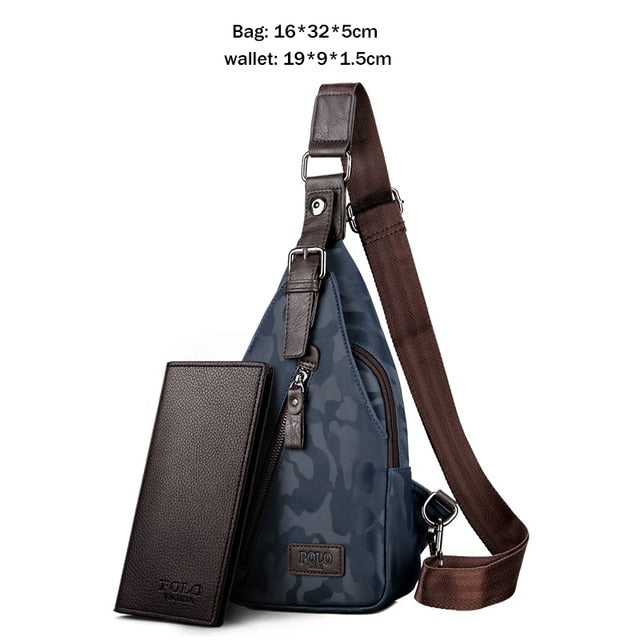 69331f85fe74 VICUNA POLO Theftproof Magnetic Button Open Leather Mens Chest Bag