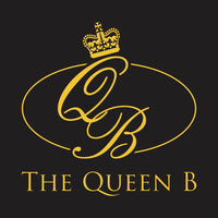 The Queen B Boutique Logo - black and gold with a queen crown image