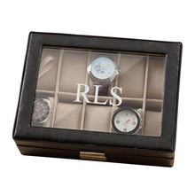Load image into Gallery viewer, Personalized Leather Watch Box- Black - Monogrammed