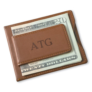 Personalized Magnetic Brown Wallet/Money Clip