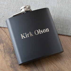 Personalized Black Matte Flask (5 Flasks) - Groomsmen Gifts