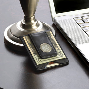 Personalized Black Leather Money Clip Wallet & Credit Card Holder