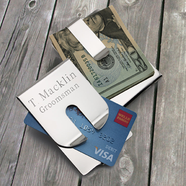 Personalized Polished Money Clip/Credit Card Holder