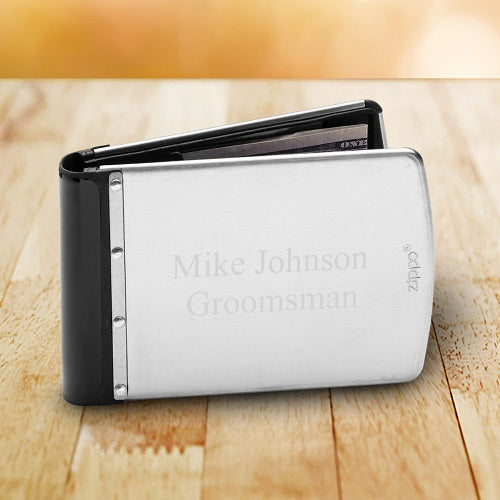 Personalized Zippo Brushed Silver RF Theft Resistant Wallet