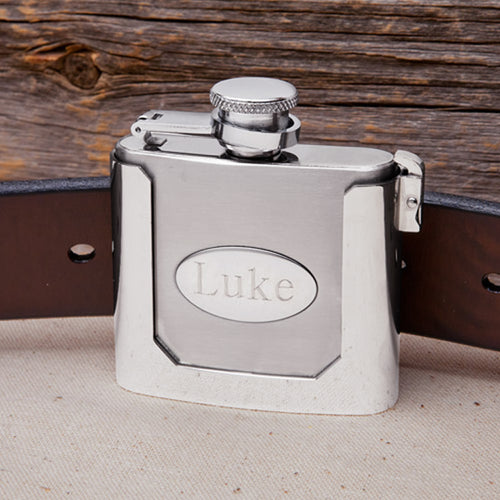 Personalized Stainless Steel Belt Buckle Flask 2oz.