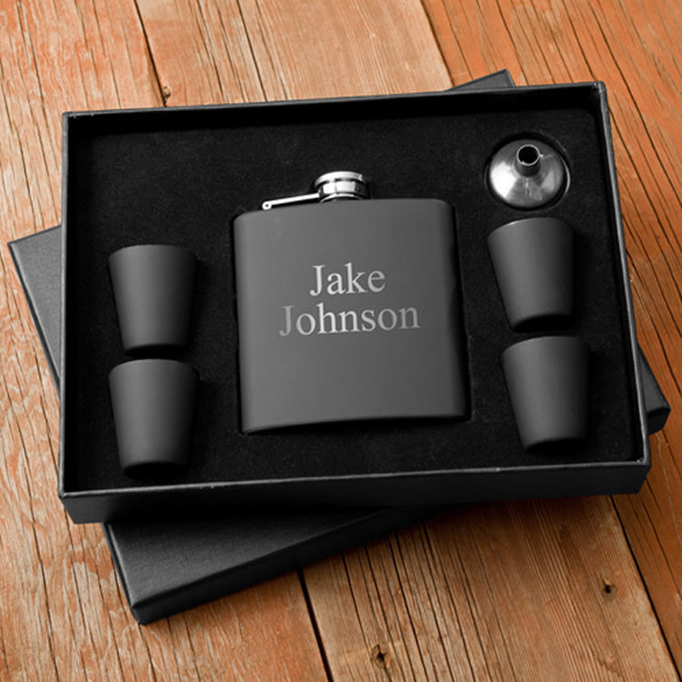 Personalized Matte Black Flask and Shot Glass Gift Box Set (5 Sets) - Groomsmen Gifts