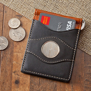 "Personalized ""Two-Toned Leather"" Money Clip Wallet and Credit Card Holder"