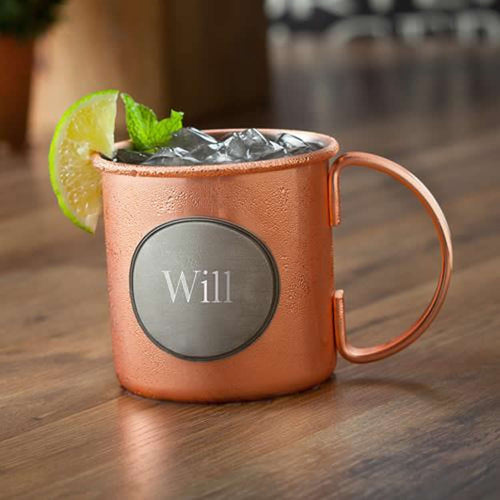 Personalized Moscow Mule Mug with Pewter Medallion