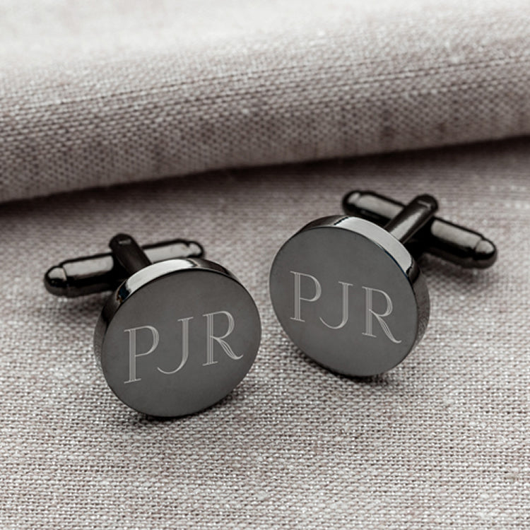 Personalized Gunmetal Round Cufflinks - Groomsmen Gifts (5 Sets of 2)