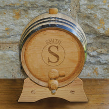 "Load image into Gallery viewer, Monogrammed ""2 Liter"" Oak Whiskey Barrel"