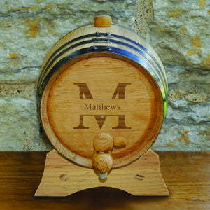 "Monogrammed ""2 Liter"" Oak Whiskey Barrel"