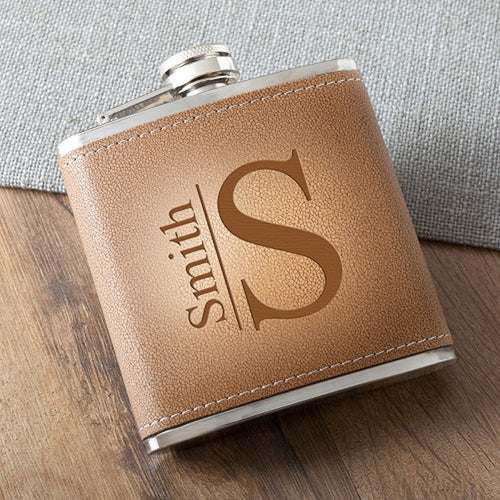 Monogrammed Tan Hide Stitched Drinking Flask