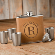 Load image into Gallery viewer, Monogrammed Tan Hide Stitch Flask & Shot Glass Gift Set