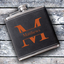 Load image into Gallery viewer, Monogrammed Suede Drinking Flask