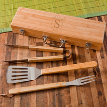 Load image into Gallery viewer, Monogrammed BBQ Set in Bamboo Case