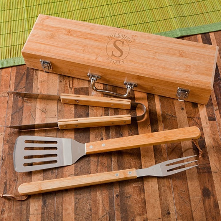Monogrammed BBQ Set in Bamboo Case