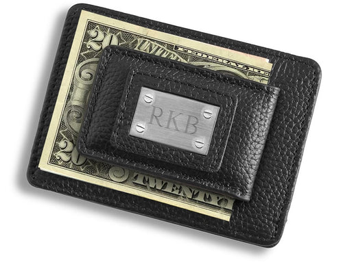 Personalized Studded Leather Money Clip and Card Holder