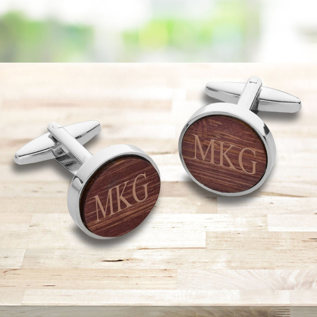 Personalized Walnut Bamboo Cufflinks