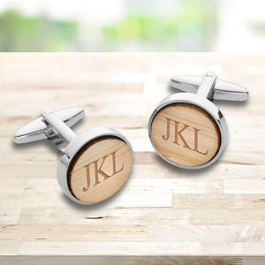 Personalized Light Brown Color Bamboo Cufflinks