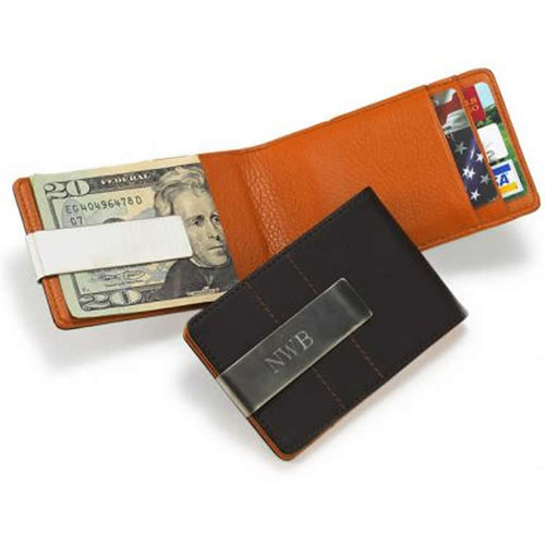 Personalized Metro Leather Wallet/Money Clip Holder