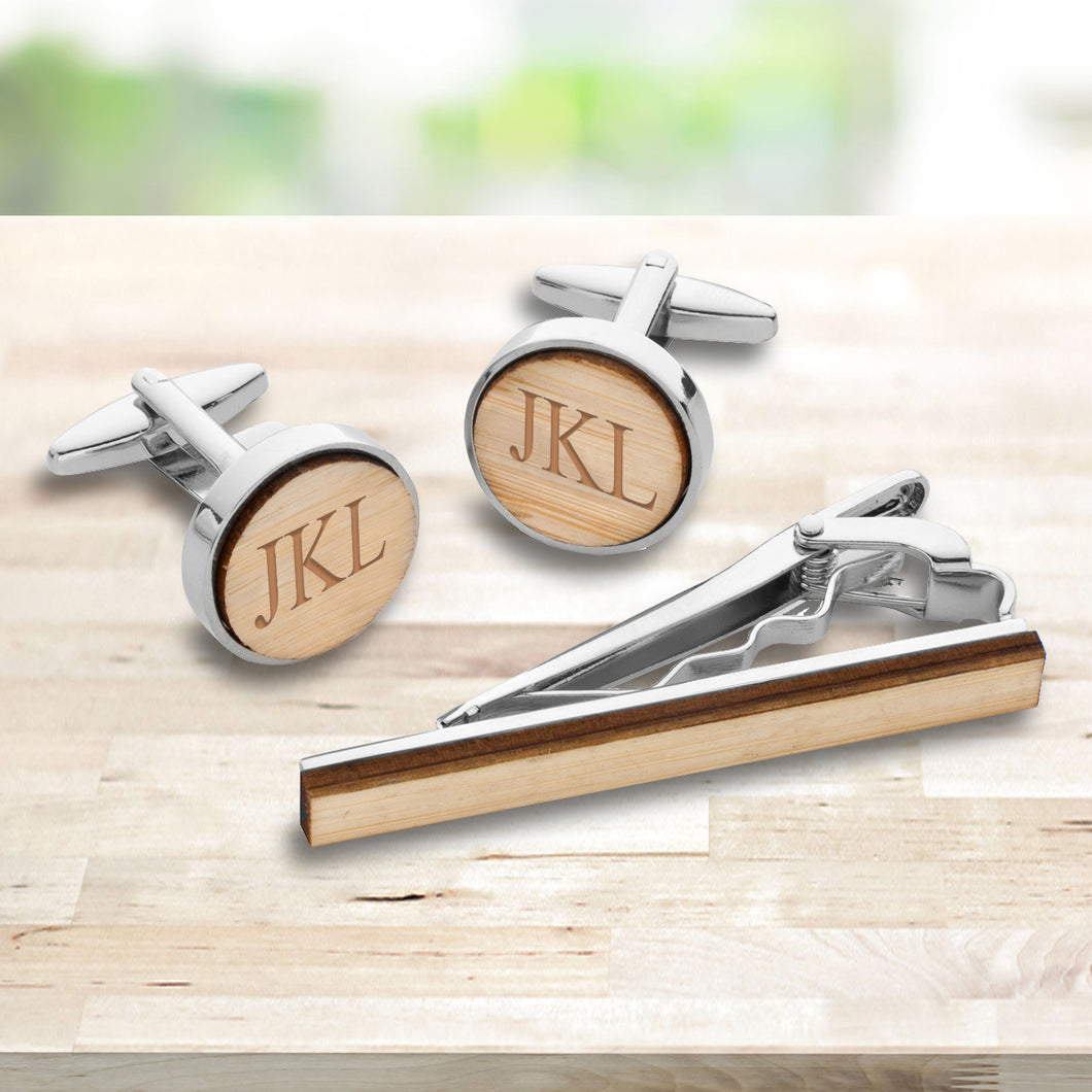 Natural Bamboo Cufflinks and Tie Clip Set