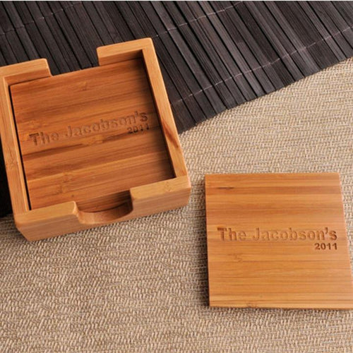 Custom Bamboo Coasters - Set of 4 with Coaster Box