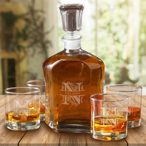 Personalized Personalized Decanter Set with 4 Lowballs